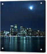 Moon Light Over New York City Acrylic Print