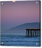 Moonset At Pismo Beach Acrylic Print