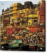 Moored Boats At The Sacred Prayag Acrylic Print