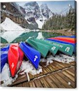Moraine Lake Canoes Acrylic Print