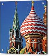 Moscow, Spasskaya Tower And St. Basil Acrylic Print
