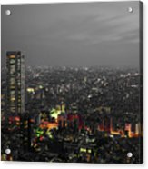 Mostly Black And White Tokyo Skyline At Night With Vibrant Selective Colors Acrylic Print