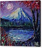Mount Fuji - Textural Impressionist Palette Knife Impasto Oil Painting Mona Edulesco Acrylic Print