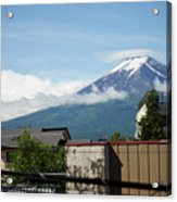 Mount Fuyji From A Distance With Clouds Around It Acrylic Print