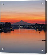 Mount Hood Over Columbia River At Dawn Acrylic Print