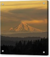 Mount Hood View During Hazy Sunset Acrylic Print