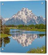Mount Moran On Snake River Landscape Acrylic Print