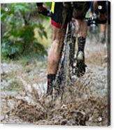 Mountain Bikers Driving In Rain Acrylic Print