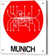 Munich Red Subway Map Acrylic Print