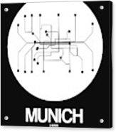 Munich White Subway Map Acrylic Print
