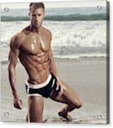 Muscular Model On Beach Acrylic Print