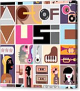Musical Collage Of Various Images - Acrylic Print