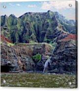 Napali Cave And Waterfall Acrylic Print
