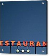 Neon 3 Star Restaurant Sign Acrylic Print