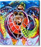 Neon Sea Turtle Wake And Drag Acrylic Print