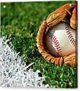 New Baseball In Glove Along Foul Line Acrylic Print