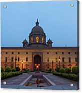 New Delhi President House At Night Acrylic Print
