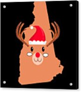 New Hampshire Christmas Antler Red Nose Reindeer Acrylic Print