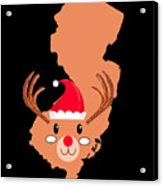 New Jersey Christmas Hat Antler Red Nose Reindeer Acrylic Print