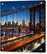 New York City - Beautiful Sunset Over Acrylic Print