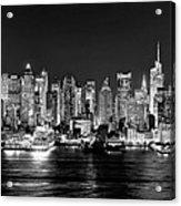 New York City Nyc Skyline Midtown Manhattan At Night Black And White Acrylic Print