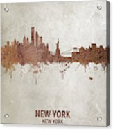 New York Rust Skyline Acrylic Print