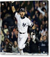 New York Yankees Derek Jeter Celebrates Acrylic Print