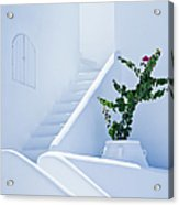 Nice White Stairs In Oia Village Acrylic Print
