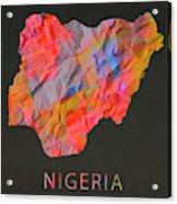 Nigeria Tie Dye Country Map Acrylic Print