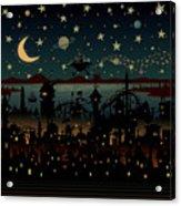 Night Scene Illustration With Ufo Acrylic Print