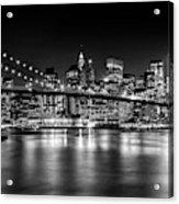 Night Skyline Manhattan Brooklyn Bridge Bw Acrylic Print
