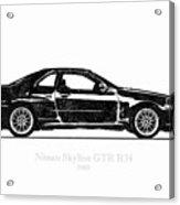 Nissan Skyline Gt-r R34 1989 Black And White Illustration Acrylic Print