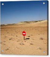 No-entry Sign In The Desert Acrylic Print