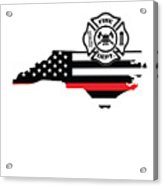 North Carolina Firefighter Shield Thin Red Line Flag Acrylic Print