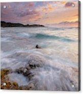 North Shore Sunset Surge Acrylic Print
