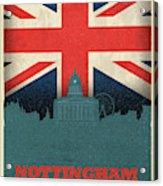 Nottingham England City Skyline Flag Acrylic Print