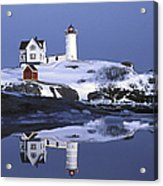Nubble At Christmas Time In New England Acrylic Print