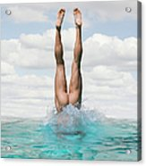 Nude Man Diving Acrylic Print