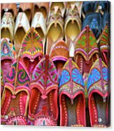 Numerous Colorful Embroidered Shoes Acrylic Print