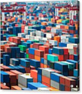 Numerous Shipping Containers In Port Acrylic Print