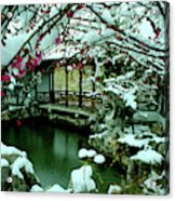 Ny Chinese Scholars Garden, Spring Snow Acrylic Print