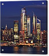 Nyc Sundown Gold And Twilight Skies Acrylic Print