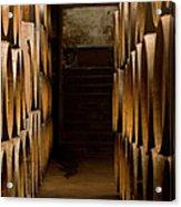 Oak Barrels At The Wine Cellar Acrylic Print