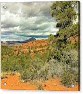 Oak Creek Baldwin Trail Blue Sky Clouds Red Rocks Scrub Vegetation Tree 0249 Acrylic Print