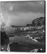 Ocean Splash In Black And White Acrylic Print
