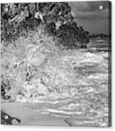 Ocean Wave Splash In Black And White Acrylic Print