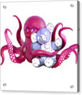 Octopus Pink With Bear Acrylic Print