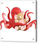 Octopus Red With Bear Acrylic Print