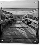 Ogunquit Beach Footbridge At Sunrise Ogunquit Maine Black And White Acrylic Print