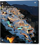 Oia, Santorini Greece At Night Acrylic Print